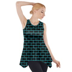 Brick1 Black Marble & Turquoise Colored Pencil (r) Side Drop Tank Tunic