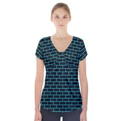 Brick1 Black Marble & Turquoise Colored Pencil (r) Short Sleeve Front Detail Top