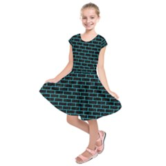 Brick1 Black Marble & Turquoise Colored Pencil (r) Kids  Short Sleeve Dress