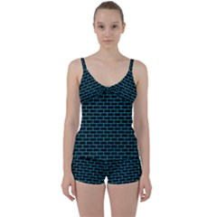 Brick1 Black Marble & Turquoise Colored Pencil (r) Tie Front Two Piece Tankini