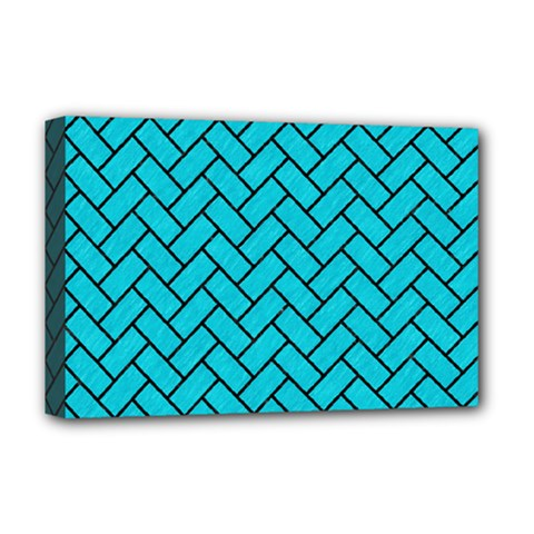 Brick2 Black Marble & Turquoise Colored Pencil Deluxe Canvas 18  X 12