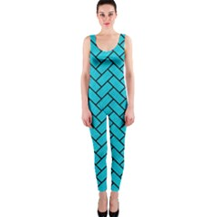 Brick2 Black Marble & Turquoise Colored Pencil Onepiece Catsuit