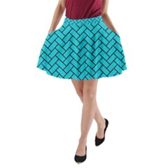 Brick2 Black Marble & Turquoise Colored Pencil A Line Pocket Skirt