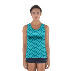 Brick2 Black Marble & Turquoise Colored Pencil Sport Tank Top