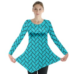 Brick2 Black Marble & Turquoise Colored Pencil Long Sleeve Tunic