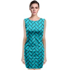 Brick2 Black Marble & Turquoise Colored Pencil Classic Sleeveless Midi Dress