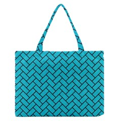 Brick2 Black Marble & Turquoise Colored Pencil Zipper Medium Tote Bag