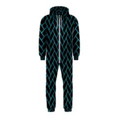 Brick2 Black Marble & Turquoise Colored Pencil (r) Hooded Jumpsuit (kids)