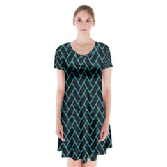 Brick2 Black Marble & Turquoise Colored Pencil (r) Short Sleeve V Neck Flare Dress