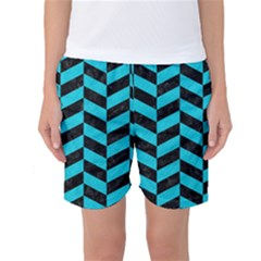 Chevron1 Black Marble & Turquoise Colored Pencil Women s Basketball Shorts