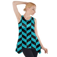 Chevron1 Black Marble & Turquoise Colored Pencil Side Drop Tank Tunic