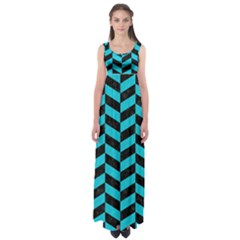 Chevron1 Black Marble & Turquoise Colored Pencil Empire Waist Maxi Dress