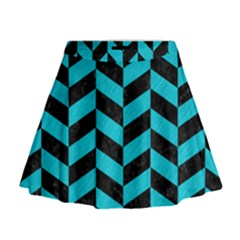Chevron1 Black Marble & Turquoise Colored Pencil Mini Flare Skirt