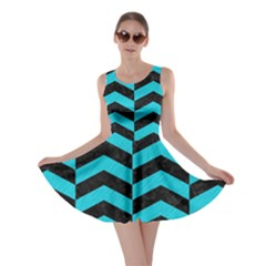 Chevron2 Black Marble & Turquoise Colored Pencil Skater Dress