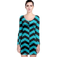 Chevron2 Black Marble & Turquoise Colored Pencil Long Sleeve Bodycon Dress