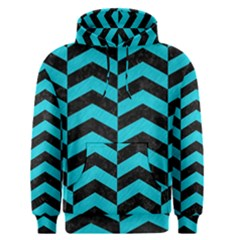 Chevron2 Black Marble & Turquoise Colored Pencil Men s Pullover Hoodie