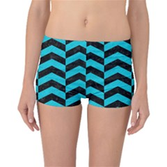 Chevron2 Black Marble & Turquoise Colored Pencil Boyleg Bikini Bottoms