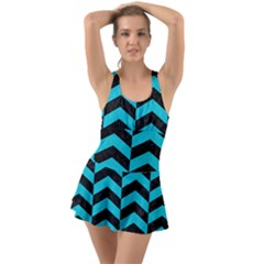 Chevron2 Black Marble & Turquoise Colored Pencil Swimsuit