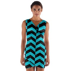 Chevron2 Black Marble & Turquoise Colored Pencil Wrap Front Bodycon Dress
