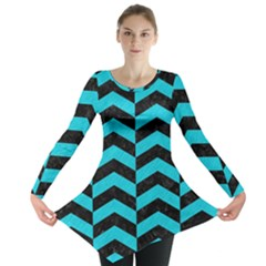Chevron2 Black Marble & Turquoise Colored Pencil Long Sleeve Tunic