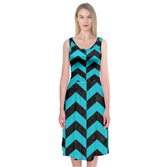 Chevron2 Black Marble & Turquoise Colored Pencil Midi Sleeveless Dress