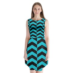 Chevron2 Black Marble & Turquoise Colored Pencil Sleeveless Chiffon Dress