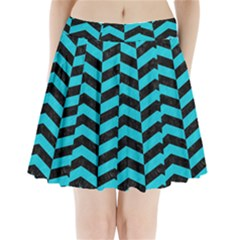 Chevron2 Black Marble & Turquoise Colored Pencil Pleated Mini Skirt
