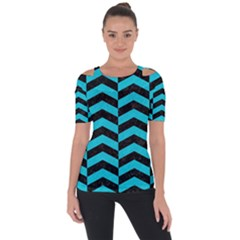 Chevron2 Black Marble & Turquoise Colored Pencil Short Sleeve Top