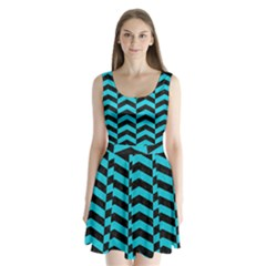 Chevron2 Black Marble & Turquoise Colored Pencil Split Back Mini Dress