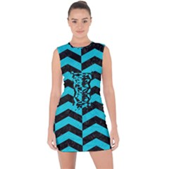 Chevron2 Black Marble & Turquoise Colored Pencil Lace Up Front Bodycon Dress