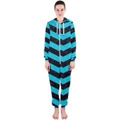 Chevron3 Black Marble & Turquoise Colored Pencil Hooded Jumpsuit (ladies)
