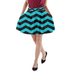Chevron3 Black Marble & Turquoise Colored Pencil A Line Pocket Skirt