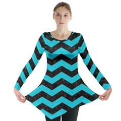 Chevron3 Black Marble & Turquoise Colored Pencil Long Sleeve Tunic