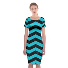 Chevron3 Black Marble & Turquoise Colored Pencil Classic Short Sleeve Midi Dress