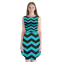 Chevron3 Black Marble & Turquoise Colored Pencil Sleeveless Chiffon Dress