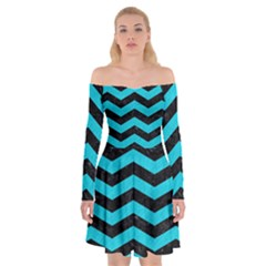 Chevron3 Black Marble & Turquoise Colored Pencil Off Shoulder Skater Dress