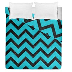 Chevron9 Black Marble & Turquoise Colored Pencil Duvet Cover Double Side (queen Size)