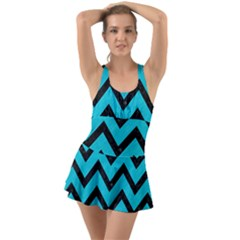 Chevron9 Black Marble & Turquoise Colored Pencil Swimsuit