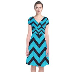Chevron9 Black Marble & Turquoise Colored Pencil Short Sleeve Front Wrap Dress