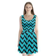 Chevron9 Black Marble & Turquoise Colored Pencil Split Back Mini Dress