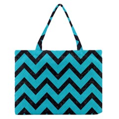 Chevron9 Black Marble & Turquoise Colored Pencil Zipper Medium Tote Bag