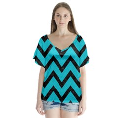 Chevron9 Black Marble & Turquoise Colored Pencil V Neck Flutter Sleeve Top