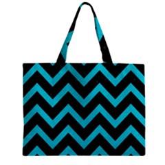 Chevron9 Black Marble & Turquoise Colored Pencil (r) Zipper Mini Tote Bag