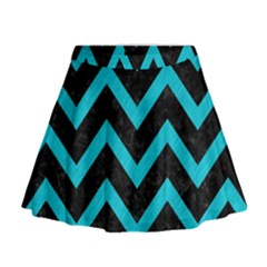 Chevron9 Black Marble & Turquoise Colored Pencil (r) Mini Flare Skirt