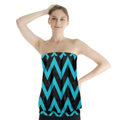 Chevron9 Black Marble & Turquoise Colored Pencil (r) Strapless Top