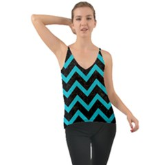 Chevron9 Black Marble & Turquoise Colored Pencil (r) Cami