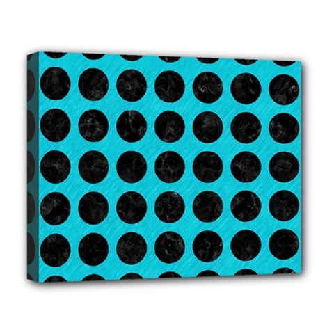 Circles1 Black Marble & Turquoise Colored Pencil Deluxe Canvas 20  X 16