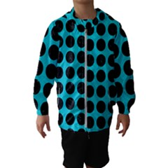 Circles1 Black Marble & Turquoise Colored Pencil Hooded Wind Breaker (kids)
