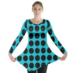 Circles1 Black Marble & Turquoise Colored Pencil Long Sleeve Tunic
