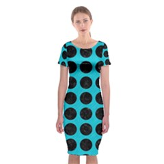 Circles1 Black Marble & Turquoise Colored Pencil Classic Short Sleeve Midi Dress